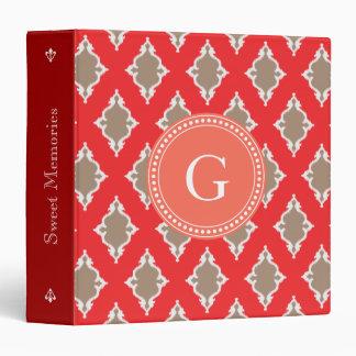 Cute girly red ikat tribal pattern monogram 3 ring binder