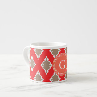 Cute girly red ikat tribal pattern monogram espresso cup