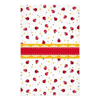 Cute girly red white black ladybugs dots stationery