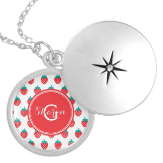 Cute girly red white strawberry patterns monogram locket necklace