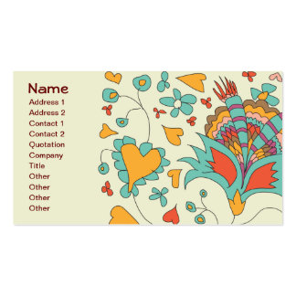 Cute Girly Retro Hearts Flowers Floral Business Card