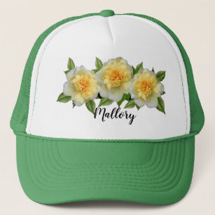 Cute Girly Roses Floral Decorated Editable Name Trucker Hat 1d91bd93d46
