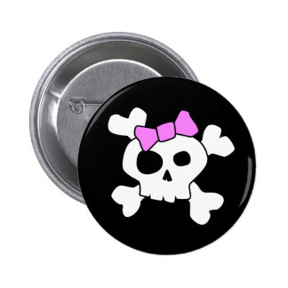 Cute Girly Skull Button