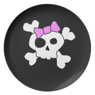 Cute Girly Skull Dinner Plate