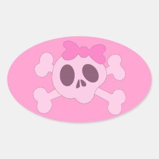 Cute girly skull oval sticker