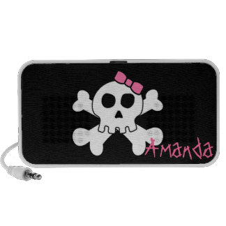 Cute Girly Skull Personalized Laptop Speakers