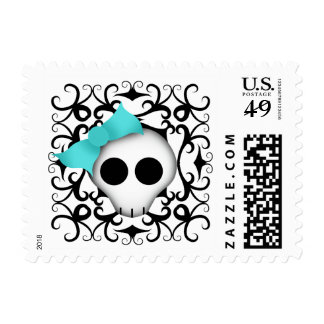 Cute girly skull postage