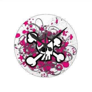 Cute Girly Skull Round Clock
