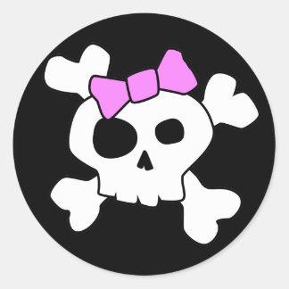 Cute Girly Skull Sticker