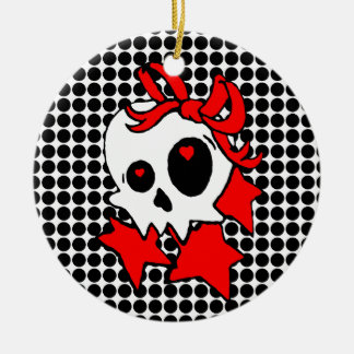 Cute Girly Skull with Stars & Bows Ceramic Ornament