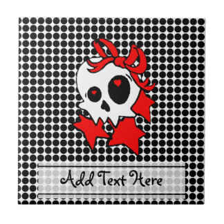 Cute Girly Skull with Stars & Bows Ceramic Tile