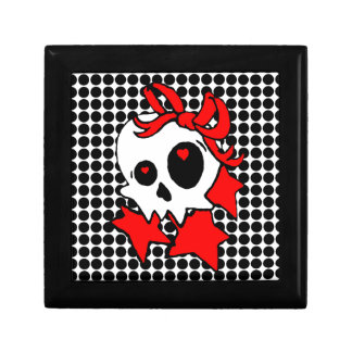 Cute Girly Skull with Stars & Bows Jewelry Box