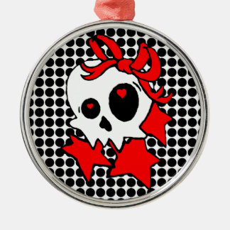 Cute Girly Skull with Stars & Bows Metal Ornament