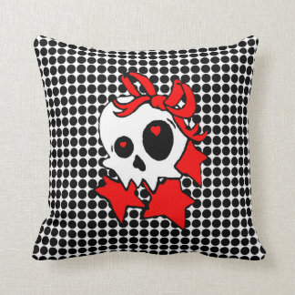 Cute Girly Skull with Stars & Bows Throw Pillow