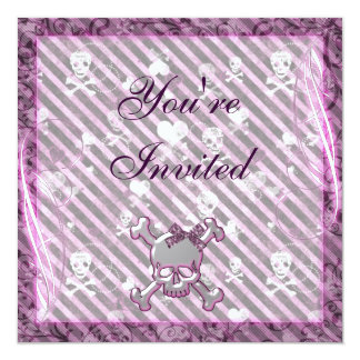 Cute Girly Skulls & Hearts Purple Birthday Card