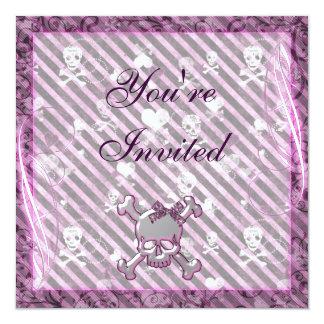 Cute Girly Skulls & Hearts Purple Birthday Announcement