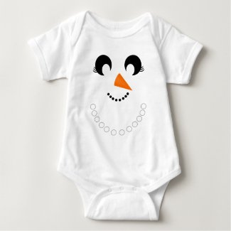 Cute Girly Snowman Face with Pearl Necklace Baby Bodysuit