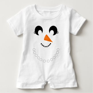 Cute Girly Snowman Face with Pearl Necklace Baby Romper
