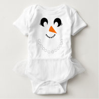 Cute Girly Snowman Face with Pearl Necklace Shirt