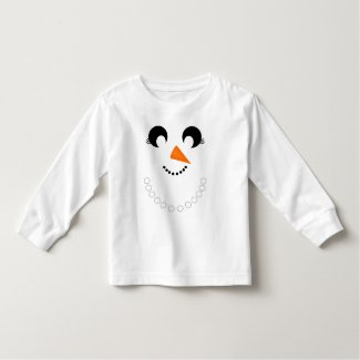 Cute Girly Snowman Face with Pearl Necklace Toddler T-shirt
