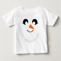 Cute Girly Snowman Face with Pearl Necklace Tee Shirts
