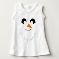 Cute Girly Snowman Face with Pearl Necklace Tee Shirt