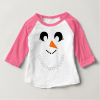 Cute Girly Snowman Face with Pearl Necklace Tshirt