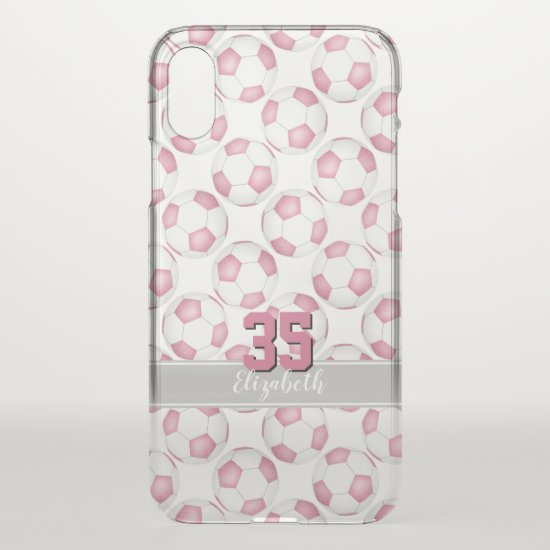 cute girly soccer balls pattern pink white gray iPhone x case