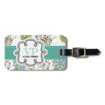 Cute Girly Spring Floral Personalized Initials Bag Tag