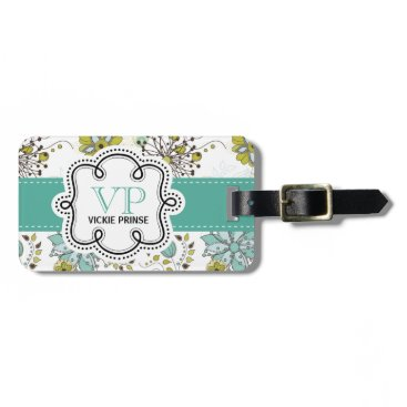 PartyHearty Cute Girly Spring Floral Personalized Initials Bag Tag