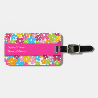 Cute girly spring flowers pattern tag for luggage
