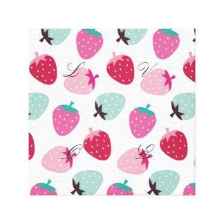 Cute,girly,strawberry,pink,mint,pattern,trendy,kid Canvas Print