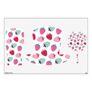 Cute,girly,strawberry,pink,mint,pattern,trendy,kid Room Graphics