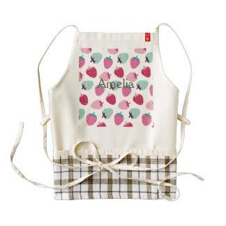 Cute,girly,strawberry,pink,mint,pattern,trendy,kid Zazzle HEART Apron