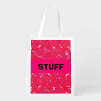 Cute girly swirls vibrant pink and red pattern reusable grocery bag