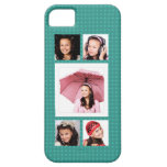 Cute Girly Teal 5 Photo Collage iPhone 5 Cover