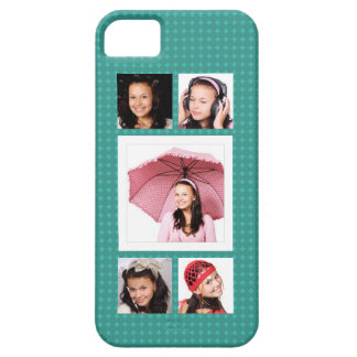 Cute Girly Teal 5 Photo Collage iPhone SE/5/5s Case