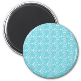 Cute Girly Teal Blue Damask 2 Inch Round Magnet