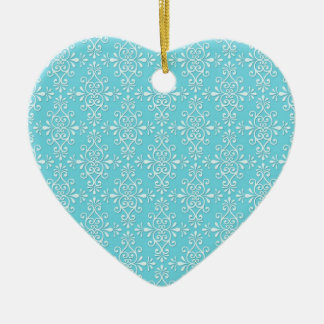 Cute Girly Teal Blue Damask Ceramic Ornament