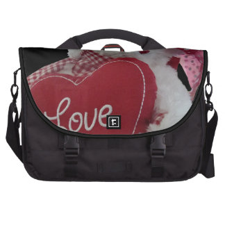 Cute Girly Teddy Bear Love Heart Red and White Bag For Laptop