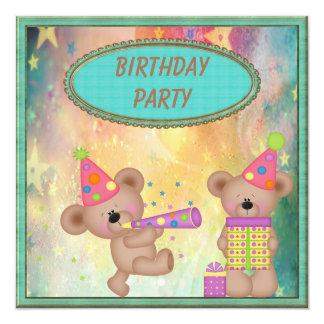 "Cute Girly Teddy Bears Birthday Party 5.25"" Square Invitation Card"
