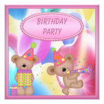 Cute Girly Teddy Bears Birthday Party Personalized Announcement
