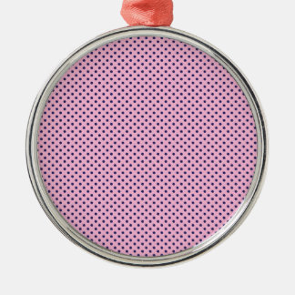 Cute Girly Tiny Purple Polka Dots on Pink Metal Ornament