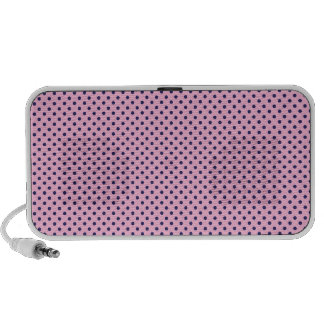 Cute Girly Tiny Purple Polka Dots on Pink Travel Speakers