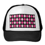 Cute girly trendy Argyle pattern hot and soft pink Trucker Hat