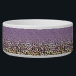 "Cute girly trendy purple faux glitter leopard bowl<br><div class=""desc"">Cute girly trendy purple faux glitter leopard animal print pattern, Shining glowing stars, fashion, sparkles, awesome sparkling faux glitter, purple, black gold leopard animal print pattern, special occasions, celebrations, cheetah, cat, animal lovers, wild, glamorous, unique, fashion, vibrant colors, happy, hipster, popular, adorable, modern, pretty, artistic, sweet, stylish, shabby chic, fashion,...</div>"