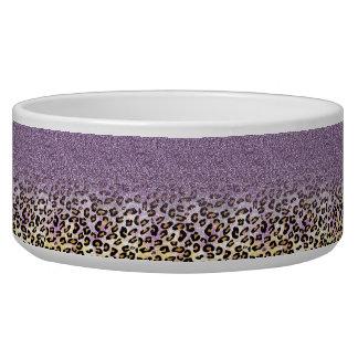 Cute girly trendy purple faux glitter leopard bowl