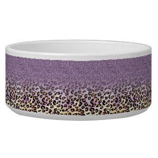 Cute girly trendy purple faux glitter leopard bowl