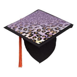 Cute girly trendy purple faux glitter leopard graduation cap topper