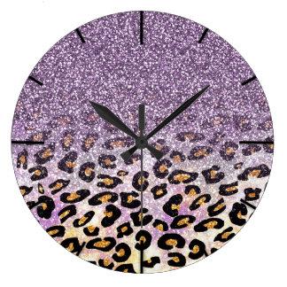 Cute girly trendy purple faux glitter leopard large clock